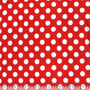 White Polka Dots on Red Cotton Jersey Blend Knit Fabric
