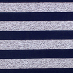 Navy Blue and Blue Oatmeal Stripe Cotton Jersey Blend Knit Fabric