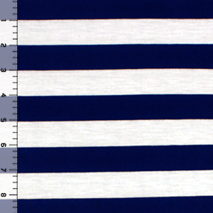 Navy Blue White Stripe Cotton Jersey Knit Fabric