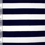 Midnight Blue White Wide Stripe Cotton Jersey Blend Knit Fabric
