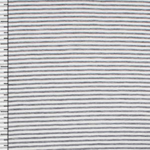 Gray White Pinstripe Cotton Jersey Knit Fabric