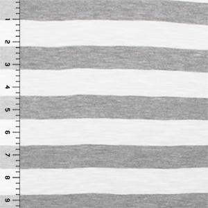 Heather Gray And White Slub Stripe Cotton Jersey Knit Fabric Girl