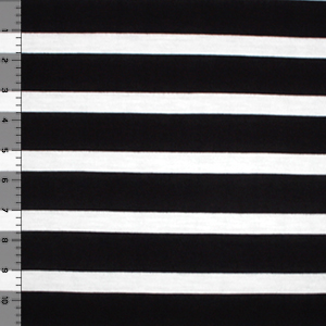 White and Black Wider Stripe Cotton Jersey Knit Fabric