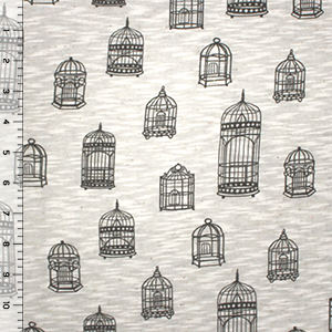 Vintage Birdcages on Oatmeal Slub Cotton Jersey Blend Knit Fabric