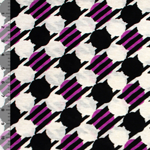 Magenta Black Mod Dots Cotton Jersey Blend Knit Fabric