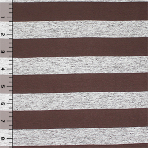 Half Yard Chocolate and Oatmeal Stripe Cotton Jersey Blend Knit Fabric