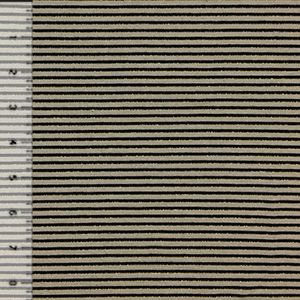 Gold Black Pinstripe on Taupe Cotton Jersey Blend Knit Fabric