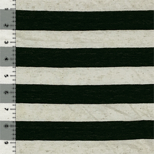 Black and Oatmeal Stripe Cotton Jersey Blend Knit Fabric