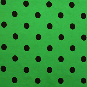 Black Dots on Bright Green Cotton Jersey Knit Fabric