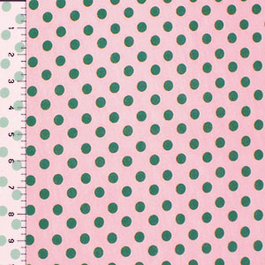 Green Dots on Pink Cotton Jersey Knit Fabric