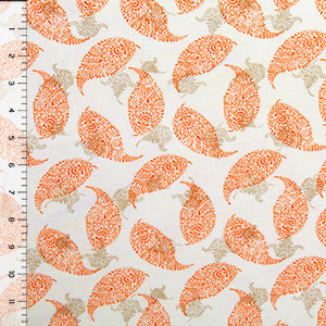 Orange Taupe Dotty Leaves on Cream Cotton Jersey Blend Knit Fabric