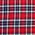 Red Blue Scots Plaid Cotton Jersey Blend Knit Fabric