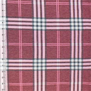 Pink Gray Preppy Plaid Cotton Jersey Blend Knit Fabric