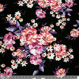 Fuchsia Coral Big Floral on Black Cotton Jersey Blend Knit Fabric