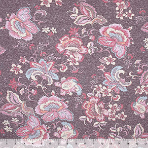 Vintage Purple Pink Botanical Floral Cotton Jersey Tri Blend Knit Fabric