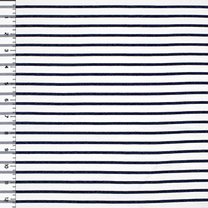 Navy Blue Small Stripe On White Cotton Jersey Knit Fabric