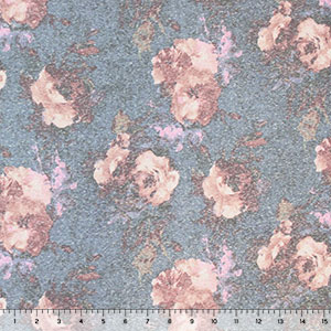 Vintage Watercolor Roses on Blue Cotton Jersey Tri Blend Knit Fabric
