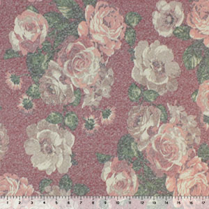 Vintage Antique Roses on Red Cotton Jersey Tri Blend Knit Fabric