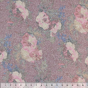 Vintage Watercolor Roses on Brick Cotton Jersey Tri Blend Knit Fabric