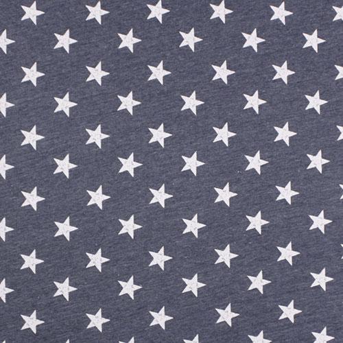a9d2f8ae9fc Vintage Stars on Heather Denim Blue Cotton Jersey Blend Knit Fabric