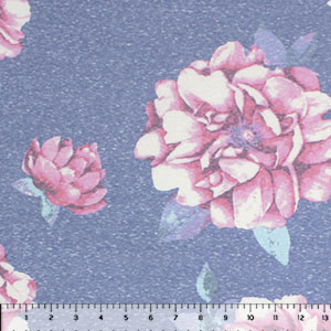 Vintage Big Pink Floral on Denim Cotton Jersey Tri Blend Knit Fabric