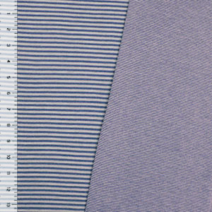 Blue Heather Gray Stripes & Pinstripes Two Sided Cotton Jersey Knit Fabric