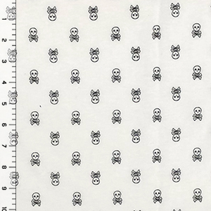 Small Skull and Crossbones on Ivory Cotton Jersey Knit Fabric