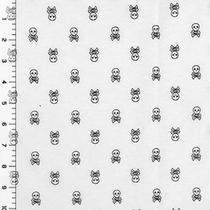 Small Skull and Crossbones on White Cotton Jersey Knit Fabric