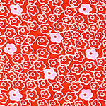 Lilac White Retro Daisy Outlines on Coral Cotton Jersey Blend Knit Fabric
