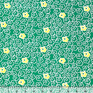 Lemon White Retro Daisy Outlines on Kelly Cotton Jersey Blend Knit Fabric