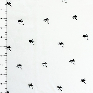 Small Black Palm Trees on White Cotton Jersey Knit Fabric