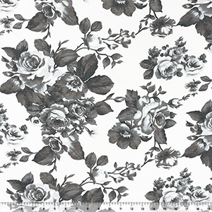 Vintage Gray Roses Double Gauze Cotton Jersey Knit Fabric