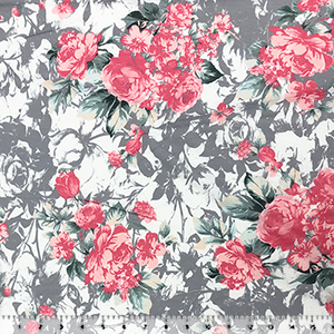 Pink Rose Bouquets on Floral Silhouettes Cotton Jersey Knit Fabric