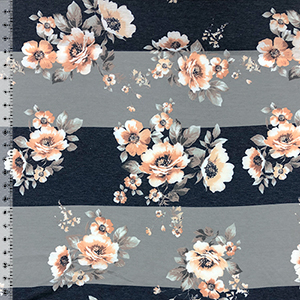 Peachy Floral On Big Gray Denim Blue Stripes Cotton Jersey Blend Knit Fabric