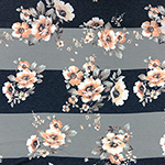 Peachy Floral On Big Aqua Denim Blue Stripes Cotton Jersey Blend Knit Fabric