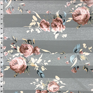 Big Mauve Roses On Gray Heather Gray Stripes Cotton Jersey Blend Knit Fabric