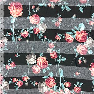Peach Fuchsia Mint Roses On Black Heather Black Stripes Cotton Jersey Blend Knit Fabric