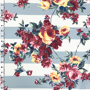 Red Yellow Flowers On Dusty Blue White Stripe Cotton Jersey Blend Knit Fabric