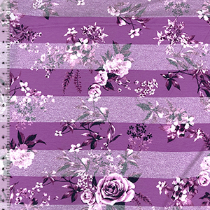 Purple Flowers On Heather Purple Stripe Cotton Jersey Blend Knit Fabric