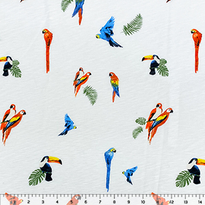 Colorful Parrots on White Slub Cotton Jersey Blend Knit Fabric