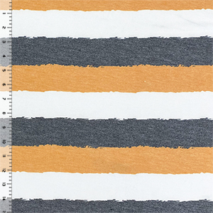 Denim Black Gold Painted Stripes Cotton Jersey Blend Knit Fabric