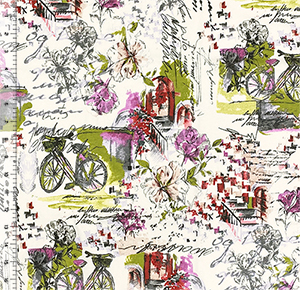Bike In The Country Garden Cotton Jersey Knit Fabric