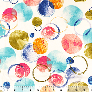Watercolor Mod Circles Cotton Jersey Knit Fabric