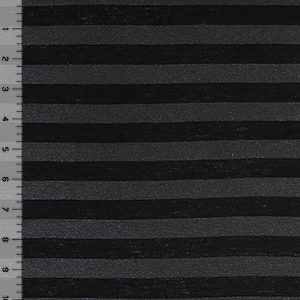 Black Charcoal Gray Stripes Cotton Jersey Blend Knit Fabric