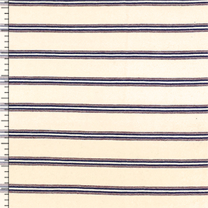 Small Red Blue Multi Stripes on Cream Cotton Jersey Knit Fabric