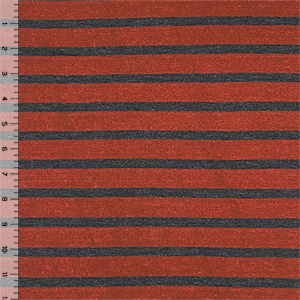 Charcoal & Rust Red Breton Stripe Cotton Jersey Blend Knit Fabric