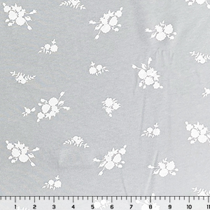 White Floral Silhouettes on Ice Gray Cotton Jersey Knit Fabric