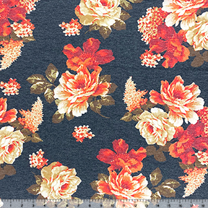 Vintage Rust Red Flowers on Black Cotton Jersey Blend Knit Fabric