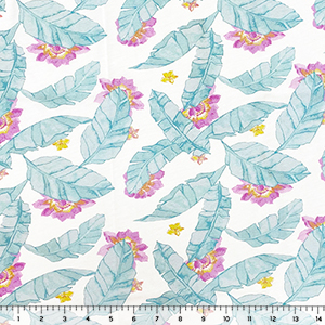 Turquoise Feather Palm Leaves on White Cotton Jersey Knit Fabric