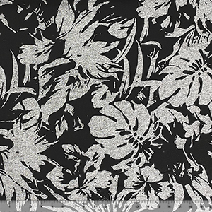 Half Yard Black Tropical Silhouettes on Denim Black Cotton Jersey Knit Fabric
